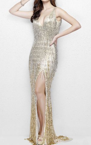 Prom Dress Beaded Fringe Dress in Nude/Gold for Sale in West Covina, CA