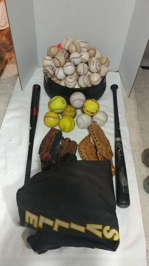 Baseball bat and softball gear.. with carrying case for Sale in Boston, MA