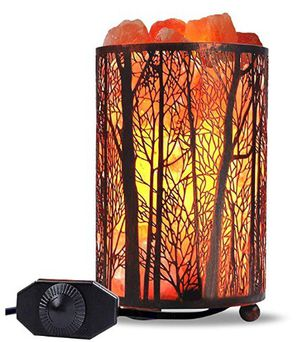 Himalayan Salt Lamp Air Purifying Rock Lamp Natural Night Light Forest Design Metal Basket Dimmer Switch for Sale in Mesquite, NV