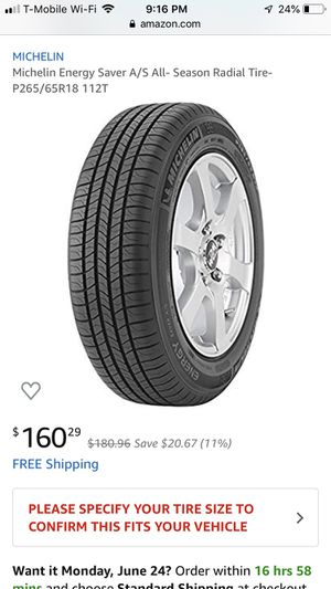 Michelin Energy Saver 265/65/18 for Sale in Hollywood, FL