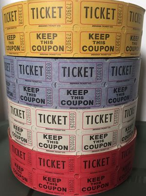Double Stub Ticket Rolls - Lot of 4 (raffles, carnivals, fundraisers, drinks) for Sale in Saddle Brook, NJ
