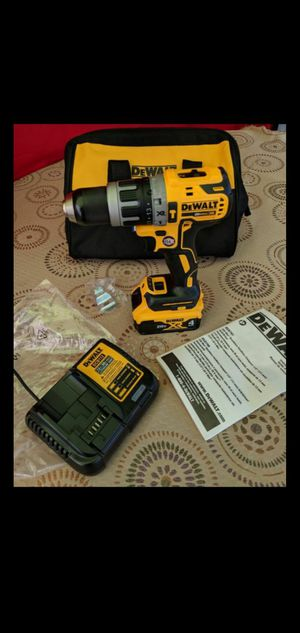 DEWALT 20-VOLT MAX XR LITHIUM ION BRUSHLESS CORDLESS 1/2 IN HAMMER DRILL DRIVER WITH HIGH CAPACITY 4.0AH CHARGER AND TOOL BAG for Sale in San Bernardino, CA