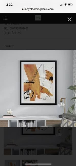 Wrought Studio 'Adaption' Painting Print – White/Orange for Sale in Indianapolis, IN
