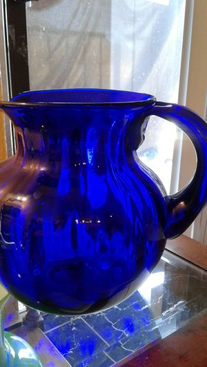 VCG cobalt blue hand blown vintage water pitcher for Sale in Glendale, AZ