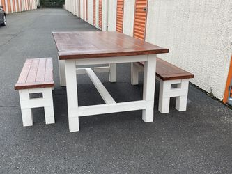 FREE DELIVERY - Farmhouse Table With Two Benches for Sale in Tacoma,  WA