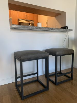 Gray leather bar stools for Sale in New York, NY