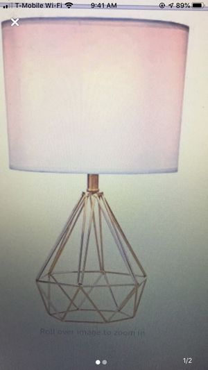 Gold small diamond wire shaped lamp new w shade for Sale in Simi Valley, CA