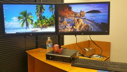 """Dual-armed stand and Two HP 24"""" LED monitors Full HD 1080p on one stand with cables for Sale in Richardson,  TX"""