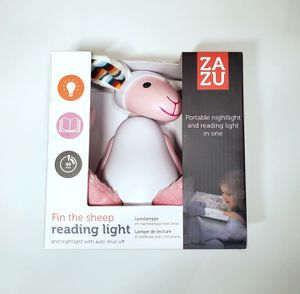 Kids Portable Reading Night Light Toy - Pink Bedside Reading Lamp, Auto Shut-Off, Adjustable Brightness, Cordless - Fin The Sheep by Zazu Kids for Sale in Hamburg, NY