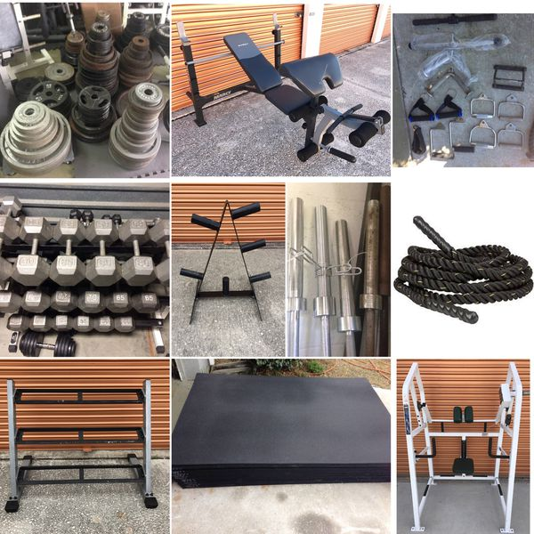 Rubber Gym Mats, Dumbbells, Olympic Weight Plates, Barbells, Curl Bars, Tricep Ropes, Squat Racks