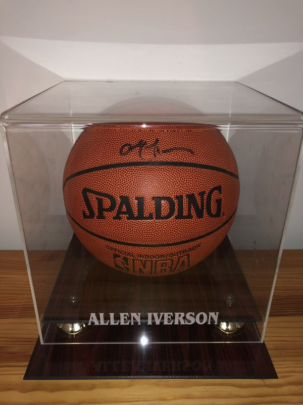 Allen Iverson signed spalding basketball with case