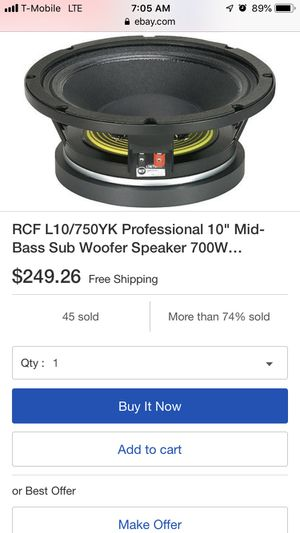 """Rcf 10"""" mid bass car audio speakers for Sale in North Lauderdale, FL"""