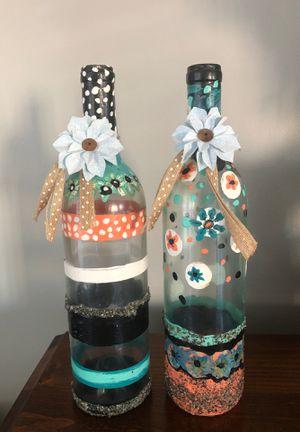2 handmade wine bottle decor for Sale in Virginia Beach, VA