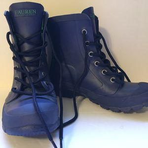RALPH LAUREN Mikenna Navy Blue Lace Up Rubber Ankle Rain Mud Boots Size 5 B for Sale in Lake Stevens, WA