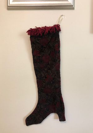 Velvet & gold fabric, high heel Christmas stocking for Sale in Columbia, MO