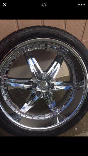 24 inch rims wheels tires 6 lug de 6 virlos for Sale in Chelan, WA