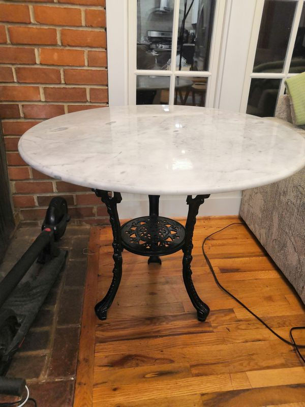 Antique Marble Top Entry Table - Wrought Iron