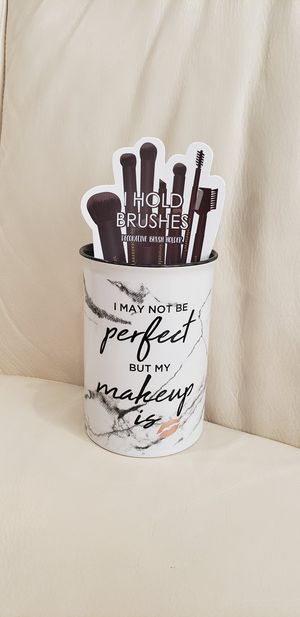 """""""I may not be perfect but my makeup is"""" funny makeup brush holder cup. Great stocking stuffer, christmas or holiday gift, or birthday present for Sale in Ontario, CA"""
