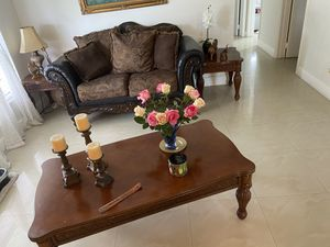 Vintage style brown and black couch 6 pieces for Sale in Miami Gardens, FL