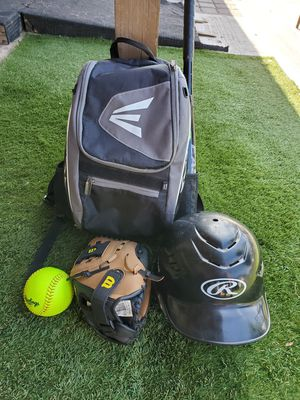 Softball/baseball KIDS BACKPACK,WILSON GLOVE, HELMET,BAT AND BALL for Sale in Phoenix, AZ