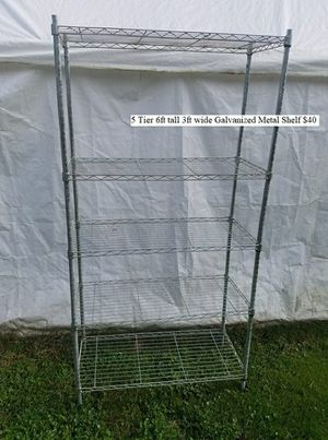 5 Tier 6ft tall 3ft wide Galvanized Metal Shelf $40 for Sale in Dresden, OH