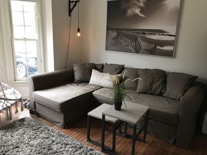 Entire living room set /sofa, tables, carpet, wall art, wall lamp, pillow for Sale in Manassas, VA