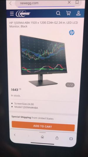 Hp Z24nG2 display monitor for Sale in Los Angeles, CA