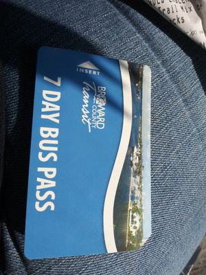Broward 7 day bus pass never used $18 for Sale in Pompano Beach, FL