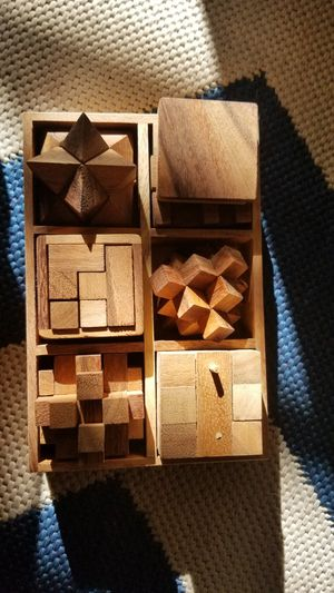 Wooden Puzzles Game Set of 6 in Box for Sale in San Diego, CA
