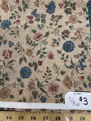 Floral cotton fabric 5/8ths of 1 yard for Sale in Corona, CA