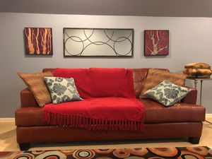 Faux-Leather sofa, 7 ft long. Two sofas available. for Sale in Monroe, LA