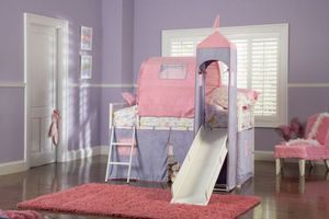 Powell Furniture Princess Castle Twin Size Tent Bunk Bed with Slide for Sale in Columbus, OH