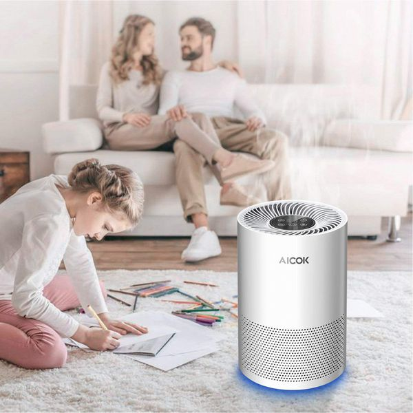 Aicok Air Purifier with True HEPA Filter and Optional Night Light, Air Cleaner Air Filter