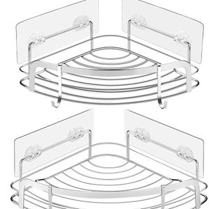 Adhesive Stainless Bathroom Shower Corner Caddy, Wall Mounted Shelves with 4 Movable Hooks, 2-Pack Bath Storage Organizer for Toilet, Dorm, Kitchen for Sale in Los Angeles, CA