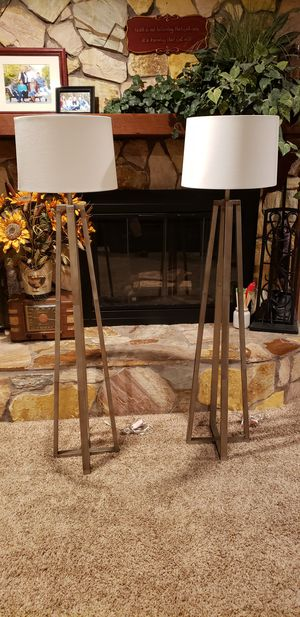 Two (2) Art Deco Retro Metal Floor Lamps with Drum Shades for Sale in Haines City, FL