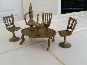 Miniature Brass Table and Chair set for Sale in Riverside, CA