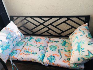 Metal patio bench with cushions for Sale in Jupiter, FL