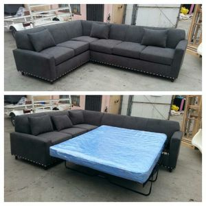 NEW 7X9FT ANNAPOLIS GRANNITE FABRIC SECTIONAL WITH SLEEPER COUCHES for Sale in Las Vegas, NV
