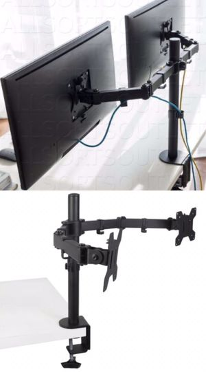 New in box 10 to 24 inches dual computer screen monitor holder stand clamp mount for Sale in Los Angeles, CA