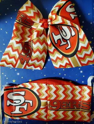 49ers Sports Hair Bow & Mask/Kids for Sale in Santa Fe Springs, CA