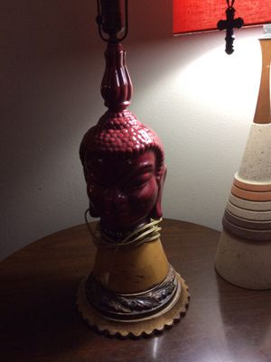 2 pieces- ceramic asian style lamp with wood stand - priceless for Sale in Lakewood, CO