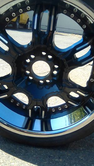 20in universal elite rims deep dish Chrome and black for Sale in West Sacramento, CA