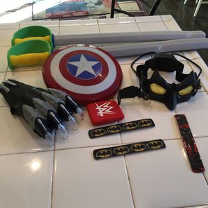 Marvel's Captain America Shield, Black Panther Claw With Sound & Batman Light Up Mask. for Sale in Menifee, CA