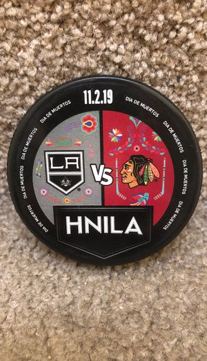 Los Angeles Kings vs Chicago Blackhawks Pre-Game Used Warm-Up Puck Dia Los Muertos Day of Dead 11/2/19 LA HNILA for Sale in Placentia, CA