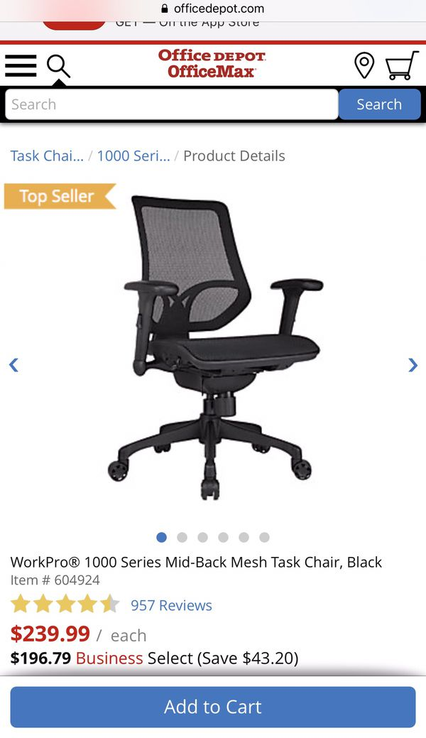 Office Chair Workpro 1000 Series Mid Back Mesh Task Chair Black Reduced Price 100 For Sale In Charlotte Nc Offerup
