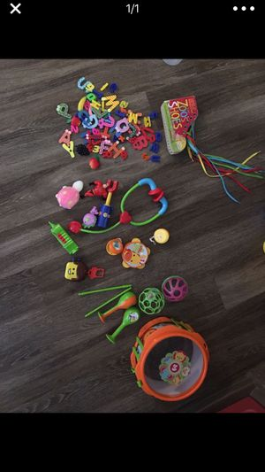 Toys lot infant toddler musical instruments magnetics book for Sale in Alexandria, VA