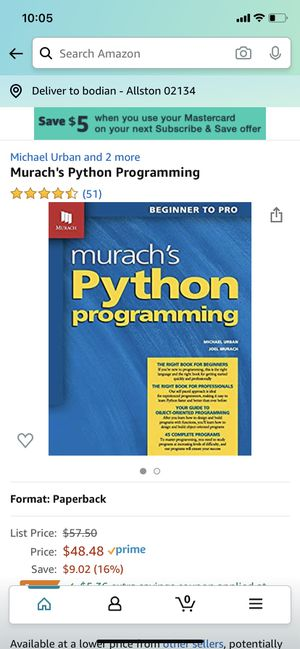 Murach's python programming for Sale in Boston, MA