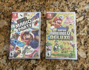 These are Two Brand New Sealed Games for the Nintendo Switch - Super Mario Party AND Super Mario Bros. U Deluxe for Sale in Temecula, CA