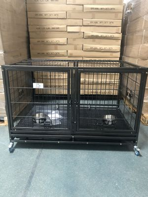 Heavy duty Large dog pet kennel cage crate stackable with removable divider and casters brand new in original factory sealed box👍🏻 for Sale in Spring Valley, NV