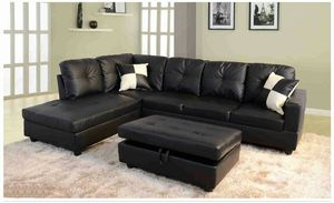 Black vinyle sectional with ottoman has storage ( new ) for Sale in Hayward, CA